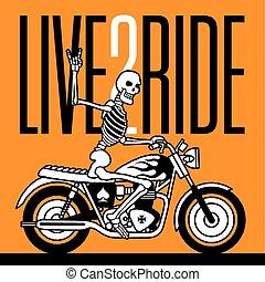 vecteur, squelette, cavalcade, vivant, motard, 2, conception