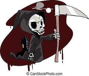 vecteur, squelettique, reaper, sinistre, illustration