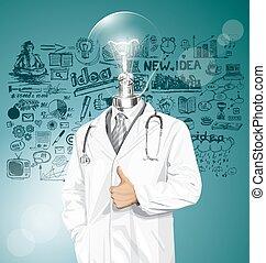 vecteur, stéthoscope, docteur