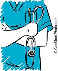 vecteur, stéthoscope, pendre, illustration, docteur