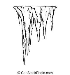 vecteur, stalactite, caverne, élément, ancien, vendange