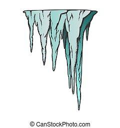 vecteur, stalactite, caverne, élément, couleur, ancien