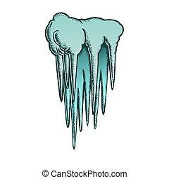 vecteur, stalactite, caverne, élément, couleur, plafond