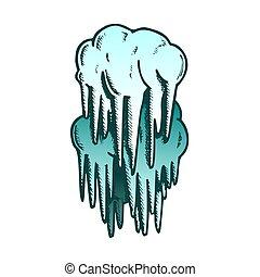 vecteur, stalactite, caverne, élément, décoration, couleur