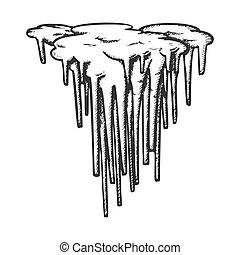 vecteur, stalactite, décoratif, forme, monochrome