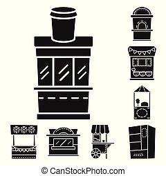 vecteur, stand, stock., objet, logo., tente, collection, urbain, icône, isolé