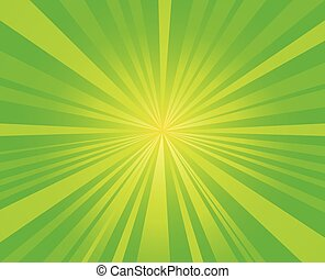vecteur, starburst, éclater, fond, rayons, vert, conception