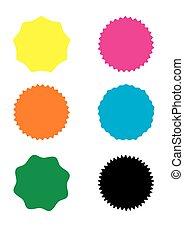 vecteur, starburst, ensemble, sunburst, insignes