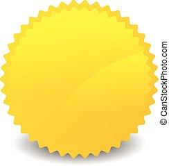 vecteur, starburst, isolé, space., forme, jaune, vide, orange