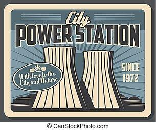 vecteur, station, usine, industriel, puissance