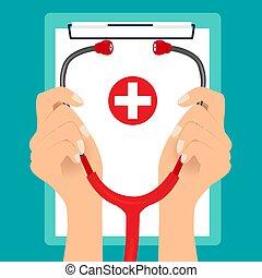 vecteur, stethoscope., monde médical, fond, illustration.