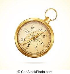 vecteur, style, compass., retro, métal