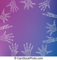 vecteur, style, concept, lattice., fond, résumé, lines., créatif, polygonal, arrière-plan., maille, conception, main, brochure., polygons., grille, moléculaire, en-tête lettre, structural