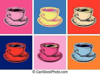 vecteur, style, ensemble café, grande tasse, pop, illustration, art