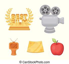 vecteur, style, ensemble, prix, formulaire, icônes, tv, symbole, récompense, web., collection, dessin animé, autre, illustration, appareil-photo., types, prizes.movie, argent, bronze, stockage