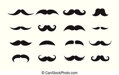 vecteur, styles, noir, icônes, hommes, ensemble, moustache