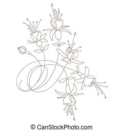 vecteur, stylique floral
