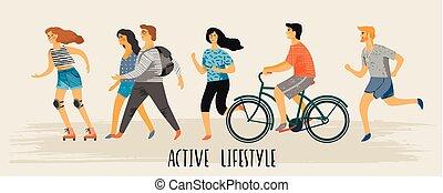 vecteur, stylisé, illustration, de, actif, jeune, gens., sain, lifestyle.