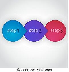 vecteur, suivant, étape, circles., conception, flèche