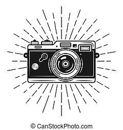 vecteur, sunburst, rayons, appareil photo, photo, retro