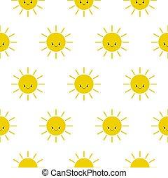 vecteur, suns., modèle, icons., soleil, rigolote, heureux, mignon, smiley
