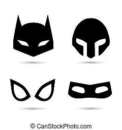 vecteur, super, ensemble, héros, icônes