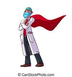 vecteur, superhero, coloré, illustration, docteur