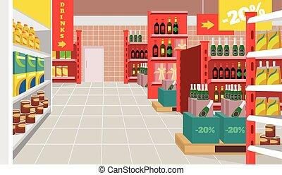 vecteur, supermarché