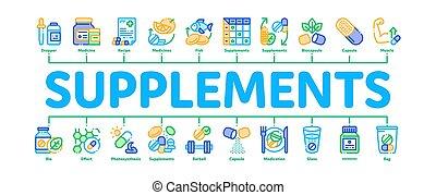 vecteur, suppléments, minimal, bannière, infographic
