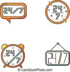 vecteur, support., center., couleur, helpdesk, symbole., jour, 24, magasin, 7, numbers., ligne, commodité, reveil, heure, hrs, client, rgb, tout, signe., illustrations, pendre, service, appeler, horloge, icônes, isolé, set.
