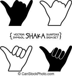 vecteur, surfers, shaka, signe main