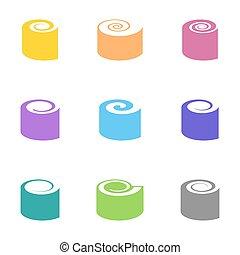 vecteur, sushi, coloré, icônes