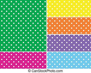 vecteur, swatches, pointillé, 6, couleurs