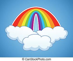 vecteur, symbole, de, arc-en-ciel, et, nuages