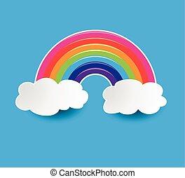 vecteur, symbole, de, arc-en-ciel, et, nuages, dans, les, ciel