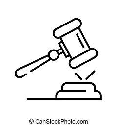 vecteur, symbole., icône, ligne, pronouncement, illustration, linéaire, concept, contour, jugement, signe