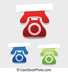 vecteur, téléphone, étiquettes