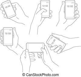 vecteur, téléphone, ensemble, main
