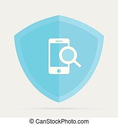 vecteur, téléphone, explorer, icône, concept, inspecter, mobile, signe, sécurité, recherche, symbole, trouver