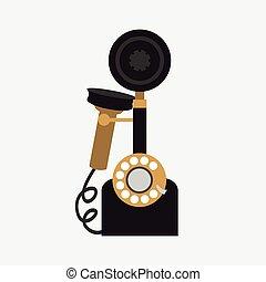 vecteur, téléphone, fond blanc, vendange