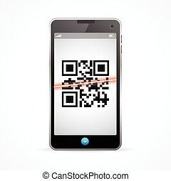 vecteur, téléphone., scanner, barcode