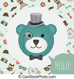 vecteur, tête, carte, hipster, ours, illustration