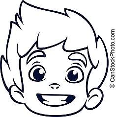 vecteur, tête, petit, livre, dessin animé, emblème, heureux, garçon, outline., illustration, coloration