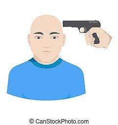 vecteur, tête, viser, fusil