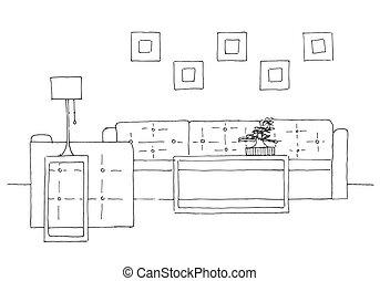 vecteur, table, croquis, main, chaise, sofa, plant., dessiné, lampe, potted, style., illustration