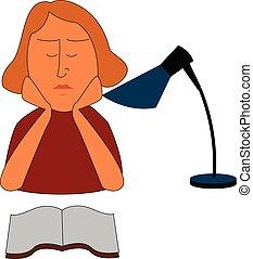 vecteur, table, girl, livre, fond, blanc, lampe, lecture, illustration
