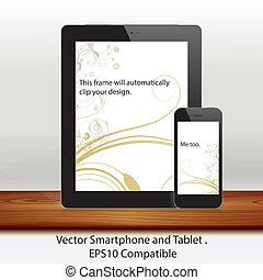 vecteur, tablette, téléphone portable, informatique, blanc