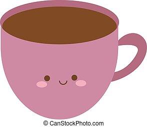 vecteur, tasse, arrière-plan., illustration, blanc, mignon, café