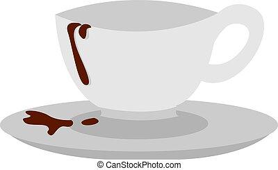 vecteur, tasse, arrière-plan., vide, illustration, café blanc