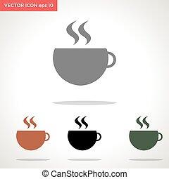vecteur, tasse, blanc, icône, café, isolé, fond